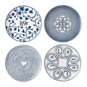 Изготовлено Royal Doulton Blue Love Plate, набор из 4 шт. ED Ellen DeGeneres