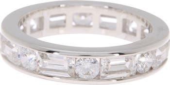 Кольцо Eternity из стерлингового серебра с платиной и имитацией бриллианта в форме багета LaFonn