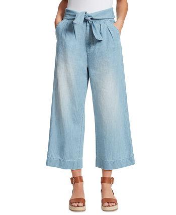 Джинсы с завязками спереди и широкими штанинами Ella Moss