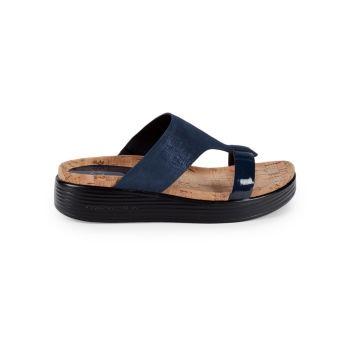 Faina Suede & Leather Wedge Sandals Donald J Pliner