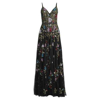 Тюлевое платье с цветочным принтом и бусинами MAC DUGGAL