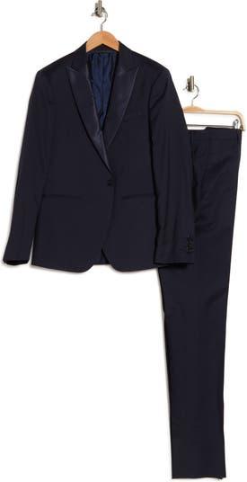 Темно-синий однотонный атласный костюм на одной пуговице с заостренными лацканами Austin Fit John Varvatos