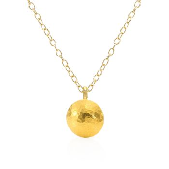 Spell Large Желтое золото 24 карата, желтое золото 22 карата и amp; Ожерелье с подвеской из желтого золота 18 карат с чечевицей Gurhan