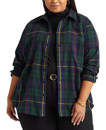 Рубашка из хлопка в клетку больших размеров Ralph Lauren
