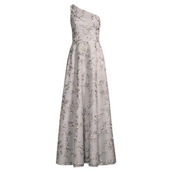 Платье на одно плечо с цветочным рисунком Aidan Mattox