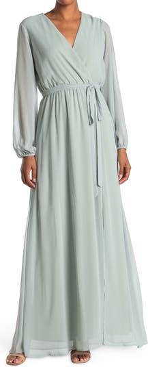 Шифоновое платье макси Surplice с длинными рукавами MARINA