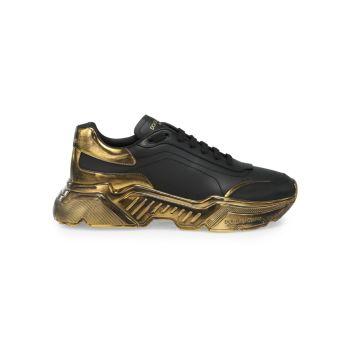Низкие кроссовки с металлизированной отделкой Dolce & Gabbana