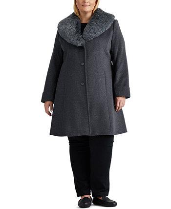 Пальто большого размера с воротником из искусственного меха, созданное для Macy's Ralph Lauren