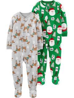 Праздничные свободные огнестойкие флисовые пижамы из 2 пар для праздников (для малышей) Simple Joys by Carter's