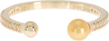 Стерлинговое серебро с покрытием из желтого золота 585 пробы, белое циркониевое кольцо, 4 мм, светлое золото, жемчуг, открытое кольцо Paige Novick