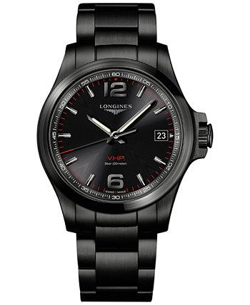 Мужские наручные часы Swiss Conquest VHP с черным PVD-покрытием из нержавеющей стали 41 мм Longines