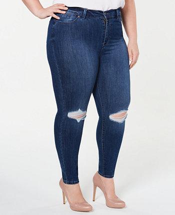 Модные рваные джинсы скинни больших размеров с высокой посадкой до щиколотки Celebrity Pink
