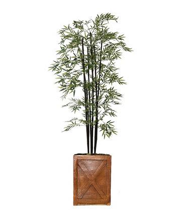 81-дюймовое высокое бамбуковое дерево с декоративными черными столбами и плантатором из стекловолокна Vintage Home