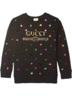 Свитшот из хлопкового джерси с вышивкой (для больших детей) Gucci Kids