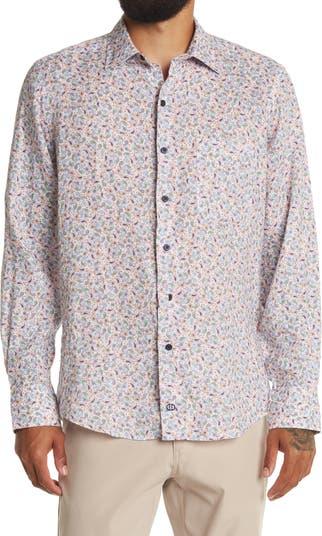 Рубашка из льняной ткани с узором пейсли и отделкой David Donohue David Donahue