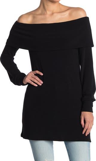 Раскладывающийся свитер-туника с открытыми плечами Go Couture