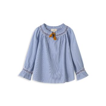 Little Girl's & Girl's Lena Embroidered Chambray Top PEEK