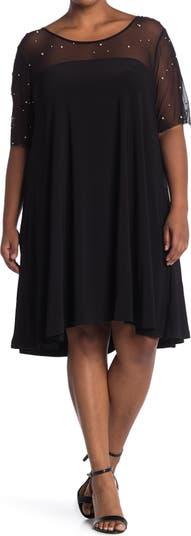 Платье со сборками и рукавами 3/4 Nina Leonard