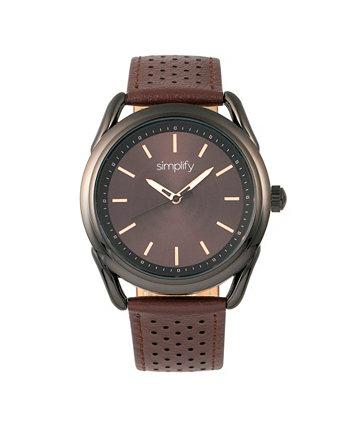 Quartz The 5900 Black Case, часы из натуральной коричневой кожи 43 мм Simplify