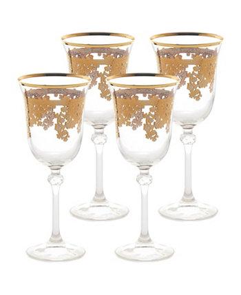 Embellished 24K Gold Crystal Red Wine Goblets - Set of 4 Lorren Home Trends