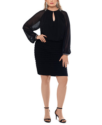Платье-футляр с шифоновыми рукавами больших размеров XSCAPE