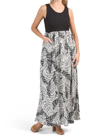Sleeveless Solid Bodice Tiger Tropic Skirt Maxi Dress Nicole Miller New York