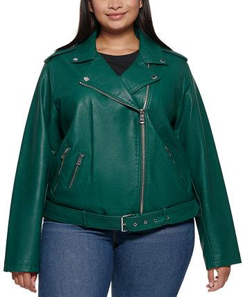 Мотоциклетная куртка из искусственной кожи с поясом больших размеров Levi's®