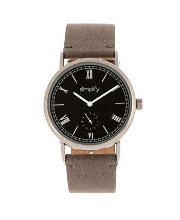 Кварц The 5100 черный циферблат, часы из натуральной угольной кожи 40 мм Simplify