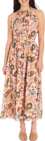 Макси-платье с цветочным принтом на шее Maggy London