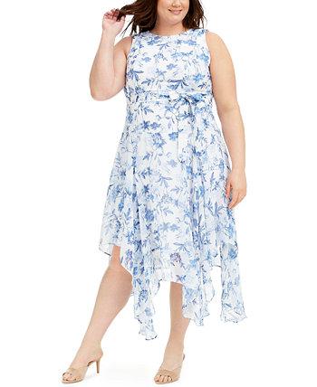 Платье миди с платком и поясом большого размера Calvin Klein