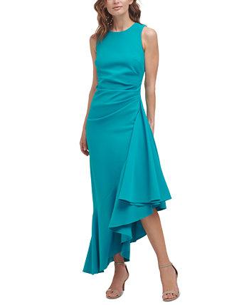 Asymmetrical-Ruffle Midi Dress Eliza J