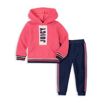 Комплект из двух предметов с капюшоном и штанами для бега для маленьких девочек Juicy Couture