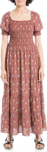 Многослойное платье макси с принтом и присборенным лифом Max Studio