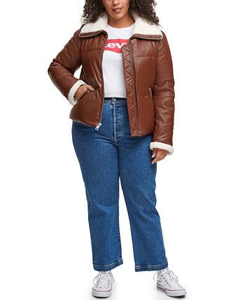 Модная куртка-пуховик большого размера из искусственной кожи с отделкой из шерпы Levi's®