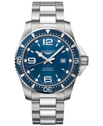 Мужские швейцарские автоматические часы-браслет из нержавеющей стали HydroConquest 44 мм Longines