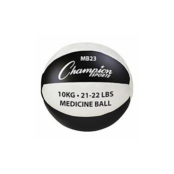 Champion Sports MB23 21-22 lbs Leather Medicine Ball, Black & White Champion Sports