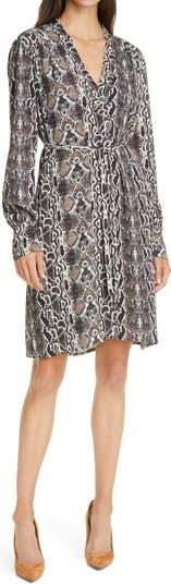 Платье с длинным рукавом и змеиным принтом Judith & Charles Amira JUDITH AND CHARLES