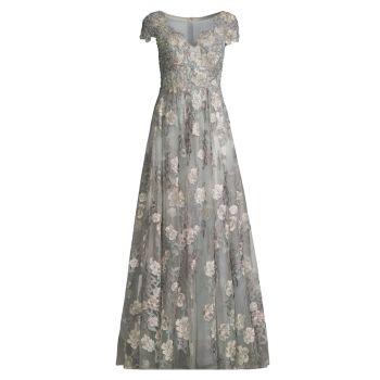 Платье трапециевидной формы с цветочным принтом и короткими рукавами MAC DUGGAL