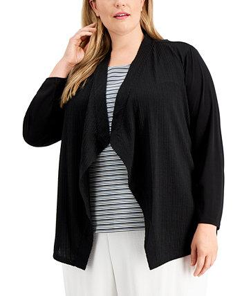 Plus Size Textured Flyaway Jacket Calvin Klein
