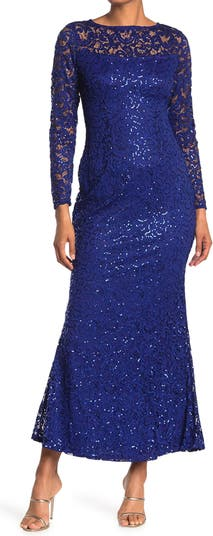 Sequin Lace Long Sleeve Gown MARINA