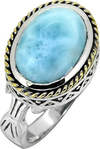 Серебряное латунное кольцо с ларимаром Nitya
