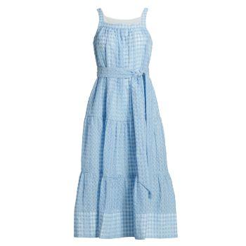 Платье из жатой ткани в мелкую клетку Savannah Tanya Taylor