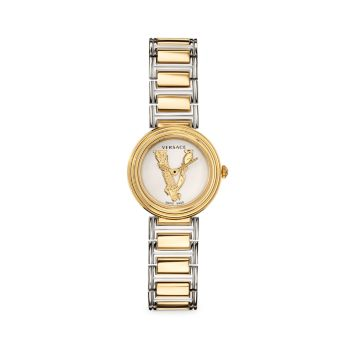 Двухцветные часы с браслетом из нержавеющей стали Virtus Mini Versace
