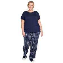 Plus Size Croft & Barrow® Short Sleeve Pajama Top & Pajama Pants Set Croft & Barrow