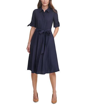 Однотонное платье-рубашка миди Calvin Klein