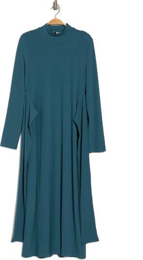 Luna Mock Neck Waist Tie Midi Dress NSR
