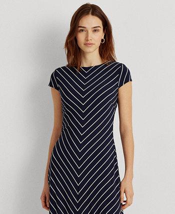 Chevron Cap-Sleeve Jersey Dress Ralph Lauren