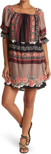 Printed Square Neck Shift Dress Angie