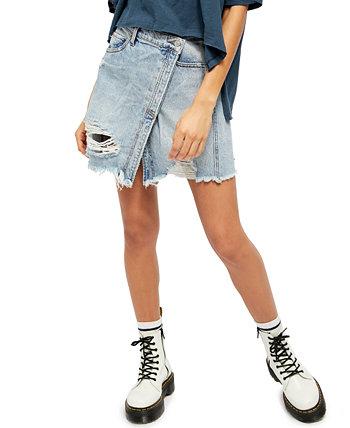 Джинсовая мини-юбка Parker с запахом Free People