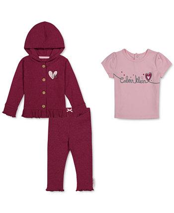 Футболка с логотипом для маленьких девочек, комплект с капюшоном и штанами Calvin Klein